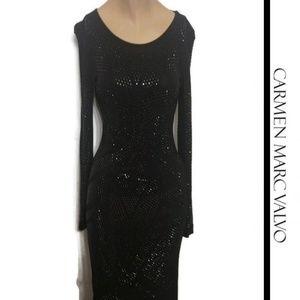Black Sheath Dress Embellished Carmen Marc Valvo